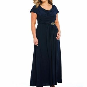 NWT Cowl Neck Pleated Embellished Gown